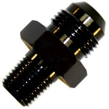 "AN to NPT Adaptor, -12 AN to 3/8"" NPT Black"