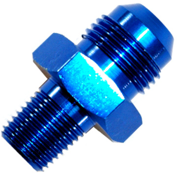 AN to NPT Adaptor, -6 AN to 1/4'' NPT Blue